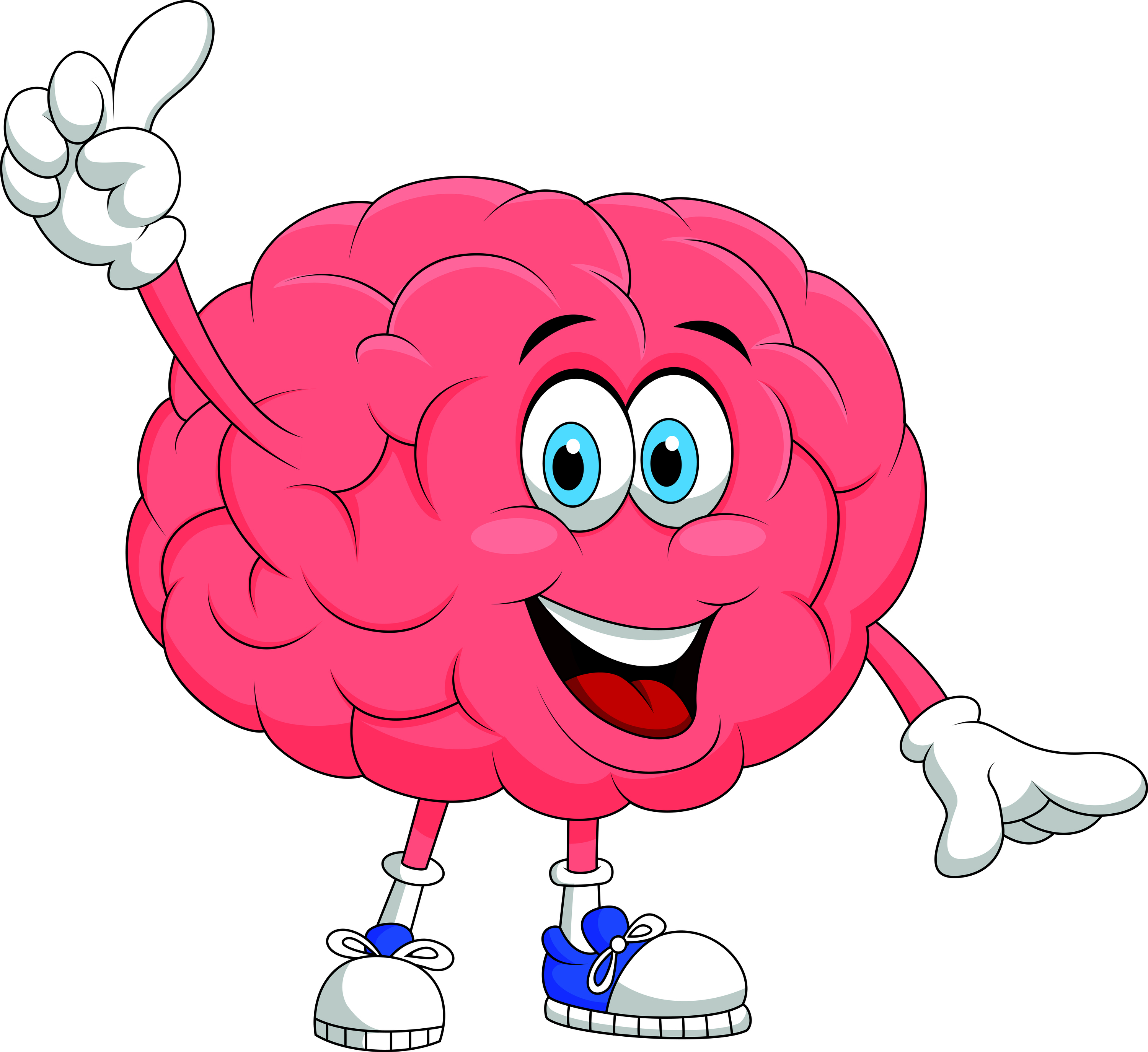 Vector illustration of Cute brain cartoon character pointing