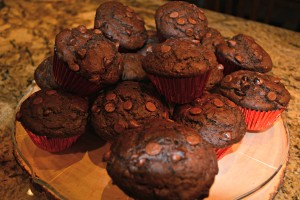 chocolate chocolate muffins done