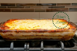 hand made lasagna Italian Christmas or Thanksgiving meal made from scratch